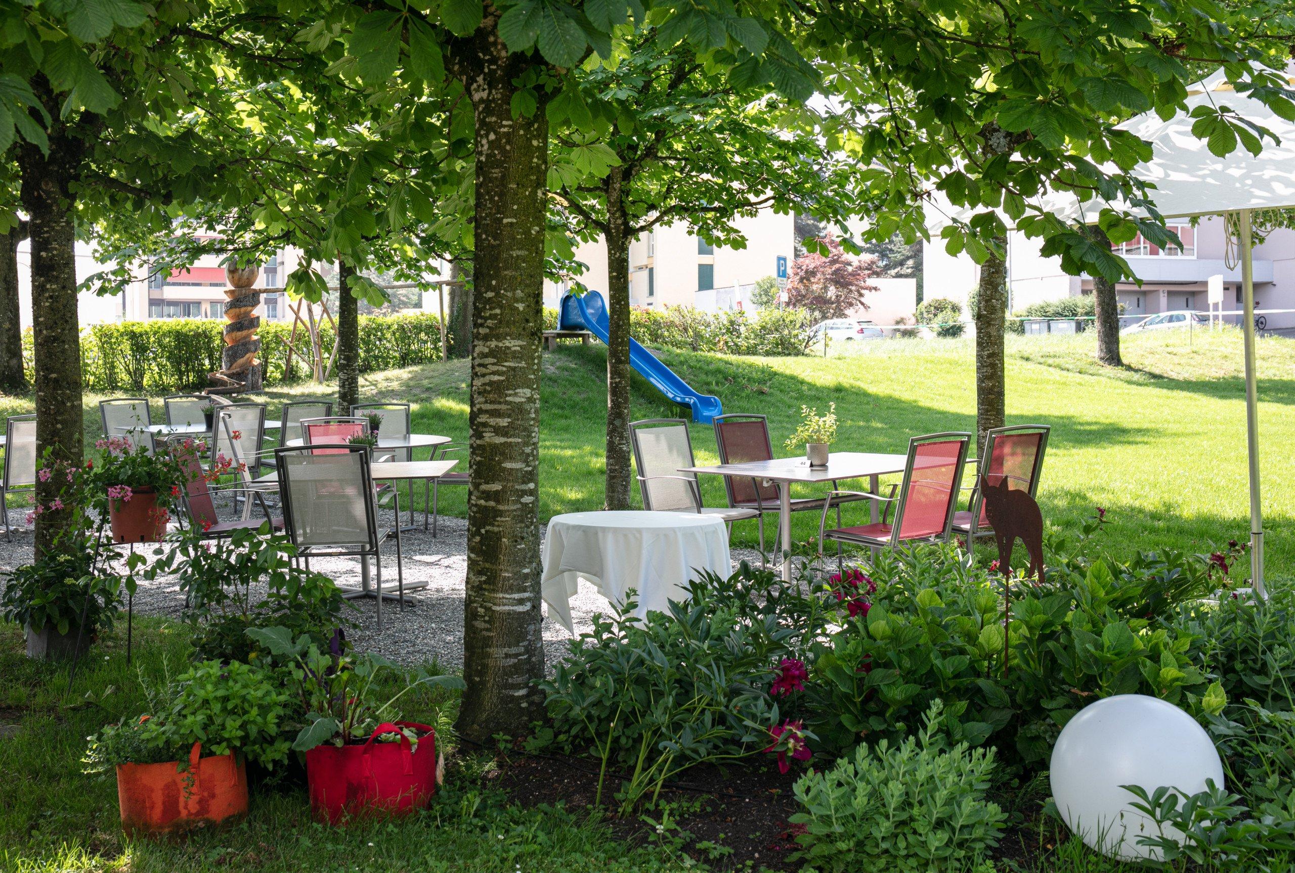 Terrasse Seegarten Sommer